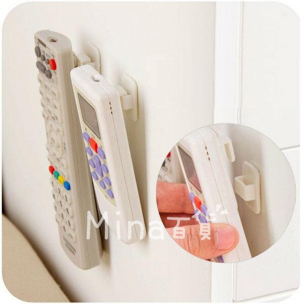 (mina百貨) 遙控器掛勾 黏貼式遙控器掛勾架 收納掛勾 2組4入 遙控器收納掛勾 F0114