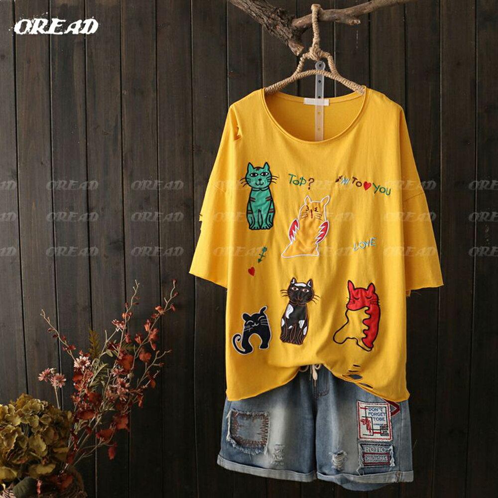 可愛多彩貓咪刺繡短袖上衣(4色F碼) *ORead* 4