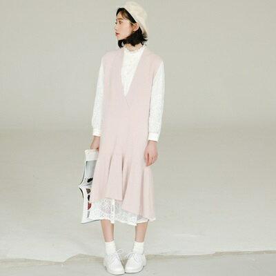 連身裙針織上衣-韓版純色荷葉邊背心女連衣裙73rx26【獨家進口】【米蘭精品】