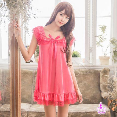 睡衣性感睡衣星光密碼【E126】俏麗蜜桃紅小蓋袖柔緞情趣性感睡衣