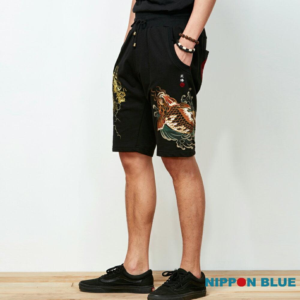 【春夏新品】泥棒藍-祥鯉龍紋精繡棉短褲 - BLUE WAY  NIPPON BLUE日本藍 1