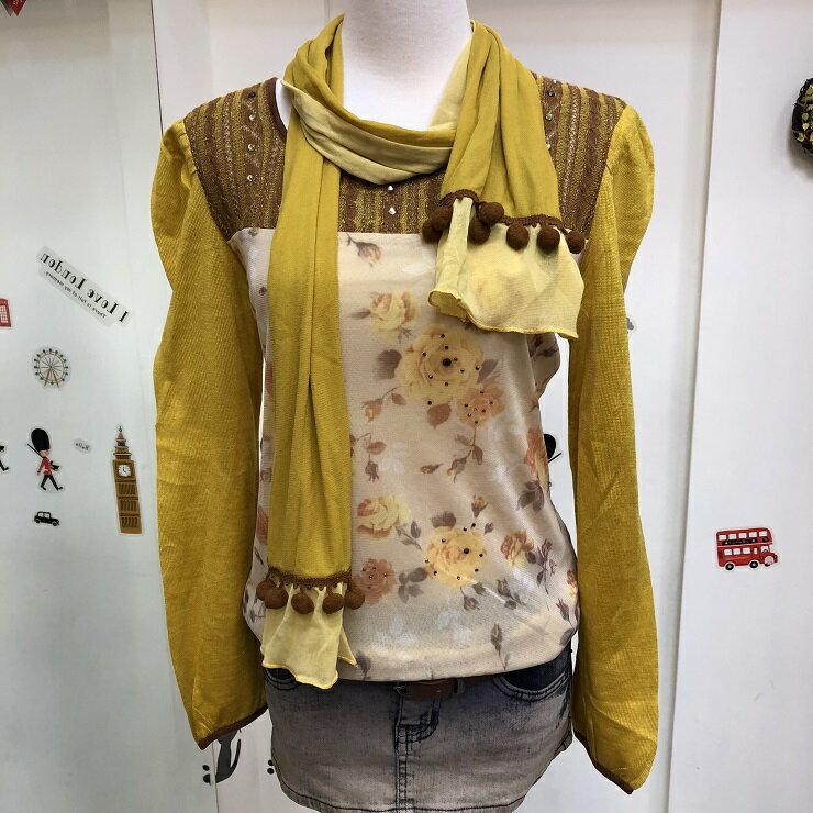免運 黃 雙層紗 圓領 棉 圍巾 長袖 上衣 女裝 女 女生