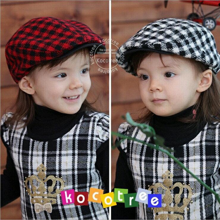 kocotree◆韓系蘇格蘭格紋 百搭格子氣質兒童貝雷帽
