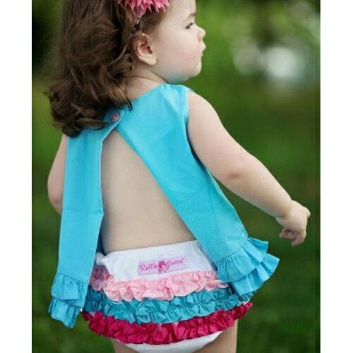 【hella 媽咪寶貝】美國 RuffleButts 小女童荷葉屁屁褲/包屁褲 白色彩虹 (RBRBW014)