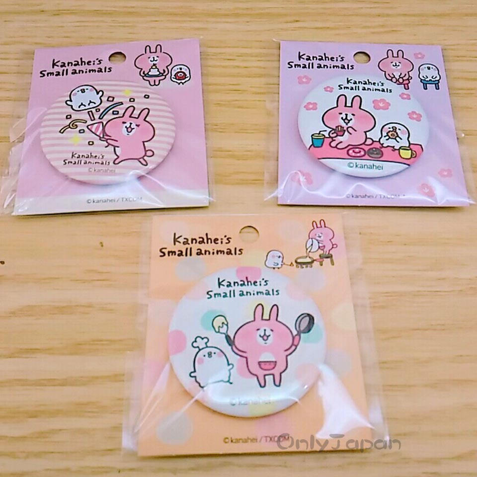 【真愛日本】18011000005 圓形胸針3入裝M-卡娜赫拉 卡娜赫拉的小動物 兔兔 P助 胸針 別針 包包裝飾
