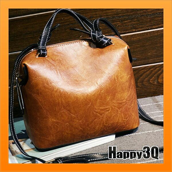 Happy Happy:手提包大容量素面包簡單上班通勤包低調大容量復古油蠟真皮牛皮-綠棕黑【AAA3390】