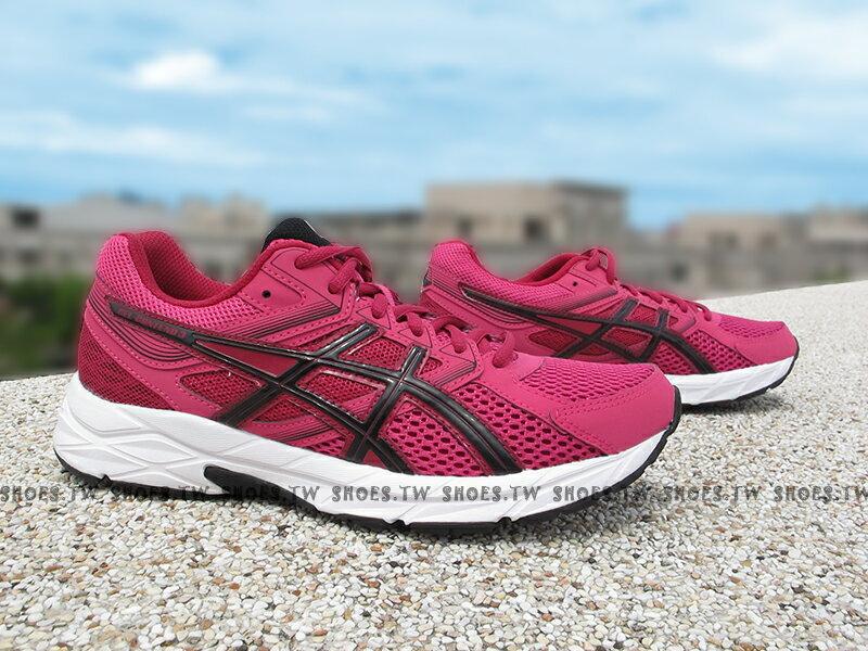 [23cm]《特價7折》 Shoestw【T5F9N-1990】ASICS 亞瑟士 慢跑鞋 基本入門款 桃紅黑 網布 女生