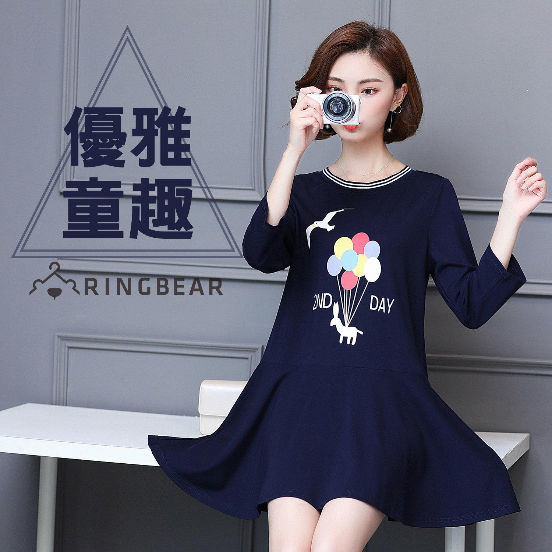 休閒洋裝--甜美童趣氣球海鷗之旅印圖荷葉下襬長袖連身裙(藍L-4L)-A259眼圈熊中大尺碼 0