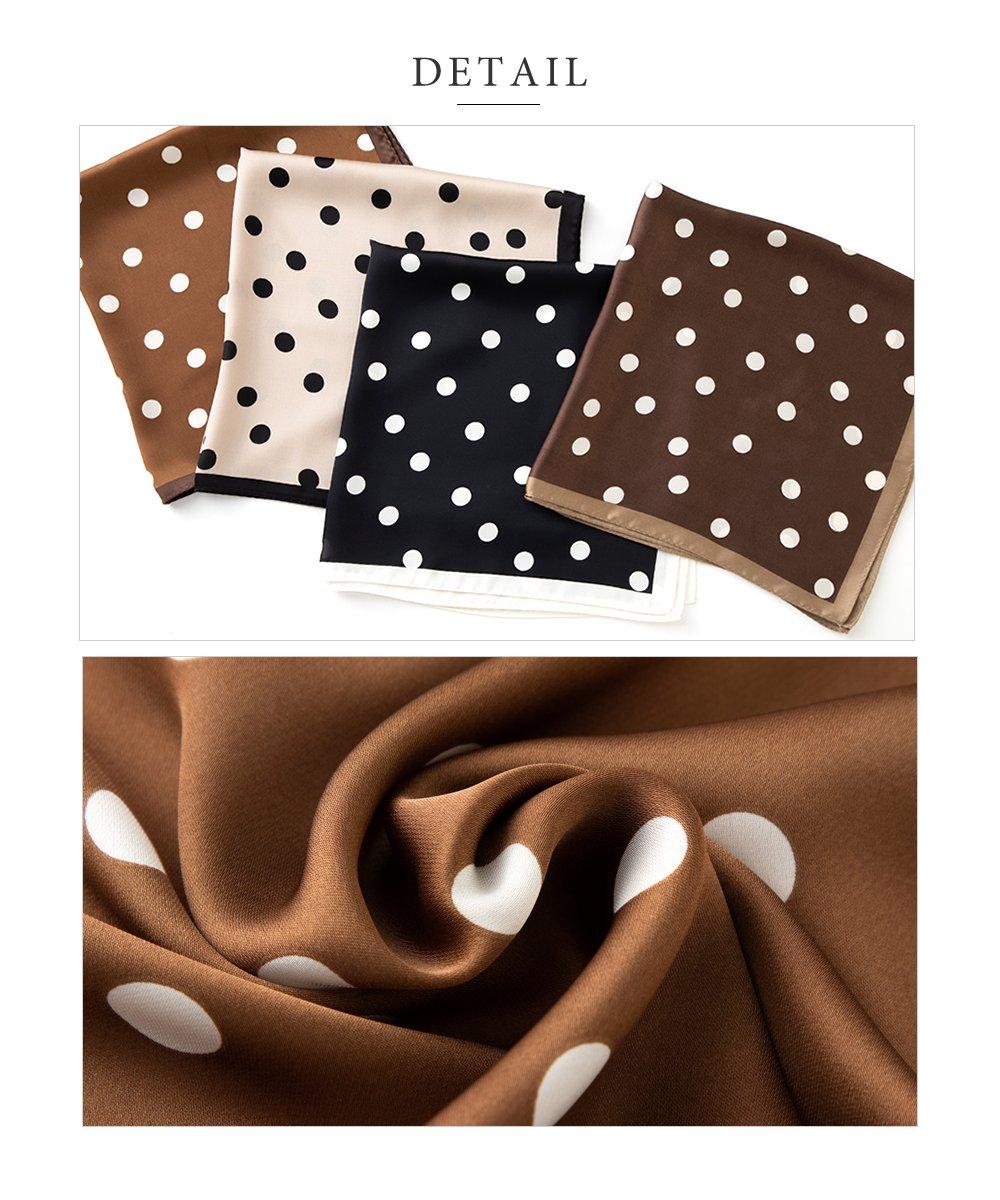 日本CREAM DOT  /  スカーフ 正方形 ファッション小物 バッグ ドット柄 くすみカラー 大人 上品 エレガント 華奢 シンプル フェミニン モカ ベージュ ブラウン ブラック  /  a03515  /  日本必買 日本樂天直送(1690) 4
