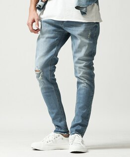 丹寧窄管褲BLUE