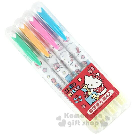 〔小禮堂〕Hello Kitty 雙頭螢光筆組《4入.側坐.玩具箱.星星.盒裝》