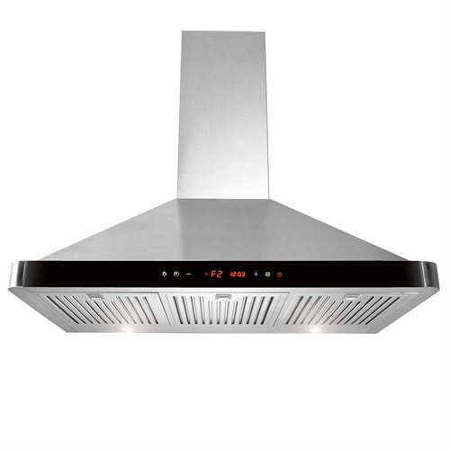 "36"" Stainless Steel Wall Mount Range Hood Touch Screen Display Light Lamp Baffle Filter AK-63190-BK 0"