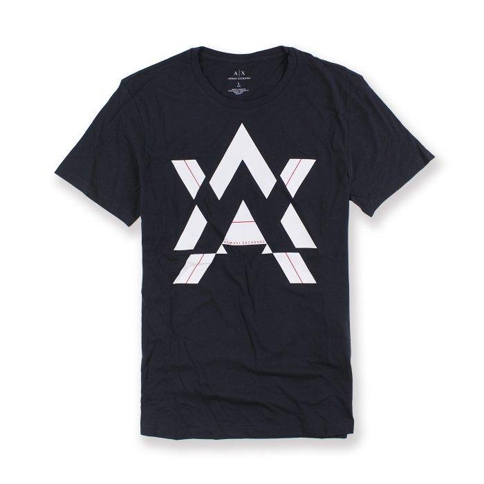 美國百分百【Armani Exchange】T恤 AX 短袖 logo 上衣 T-shirt 深藍 L XL號 I015