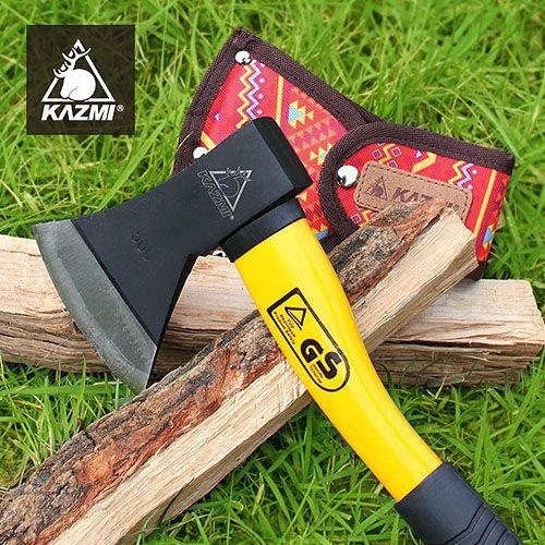 【露營趣】KAZMI附保護套K5T3T010經典民族風手斧(紅色)營斧斧頭替代鐵鎚