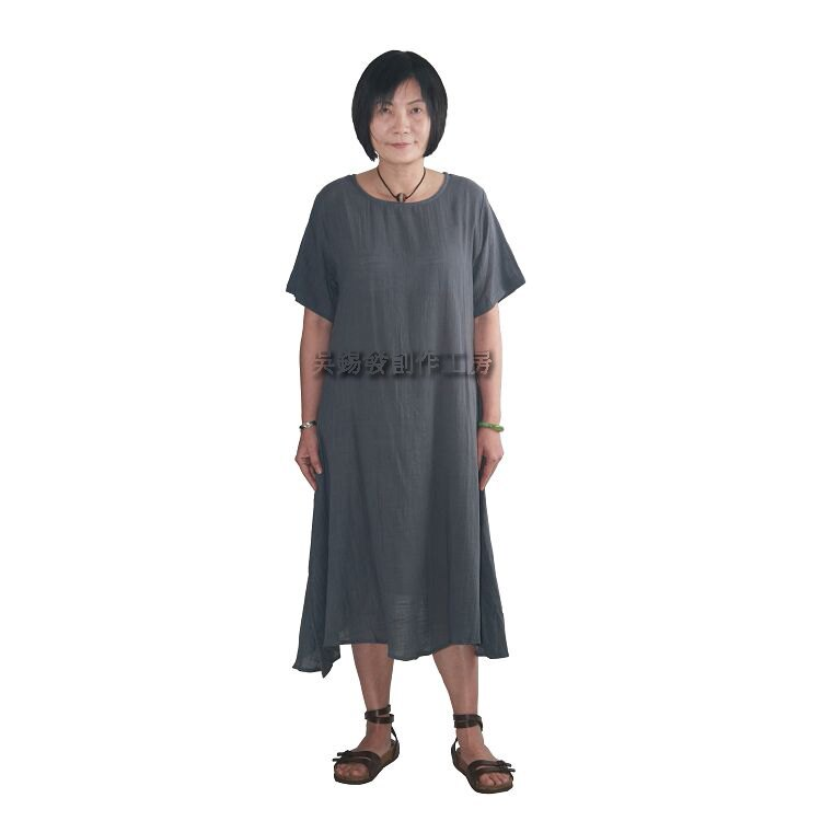 Y4142吳錫發創作工房手染服飾特殊剪裁純棉洋裝