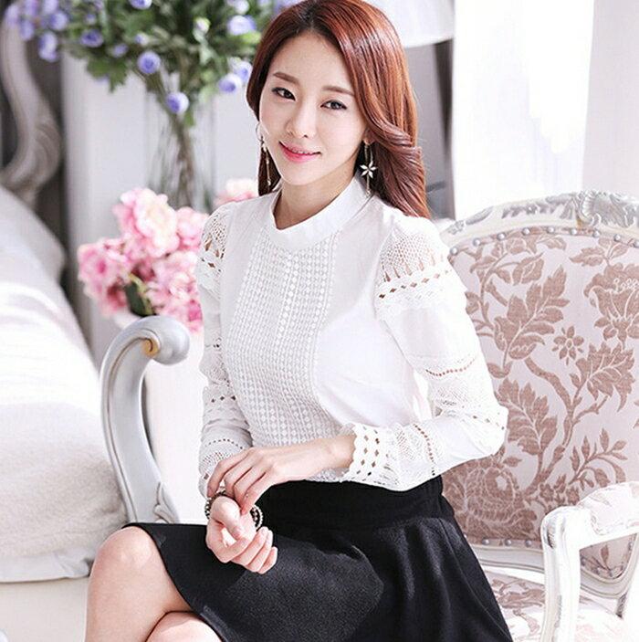 韓國女神具荷拉款 蕾絲拼接雪紡立領上衣 ^( ^)wcps36