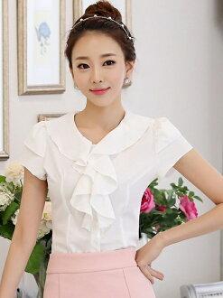 2015新款夏季短袖 韓版雪紡上衣 OL襯衫 OL套裝 cps42
