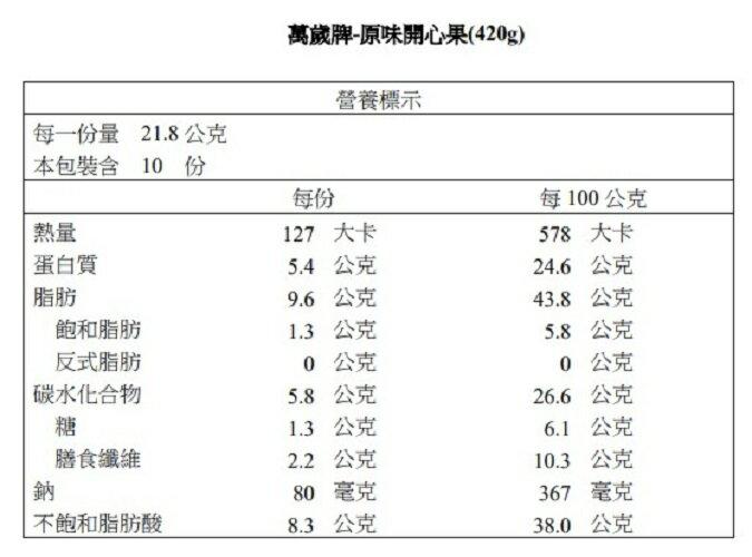 【萬歲牌】原味開心果(420g)