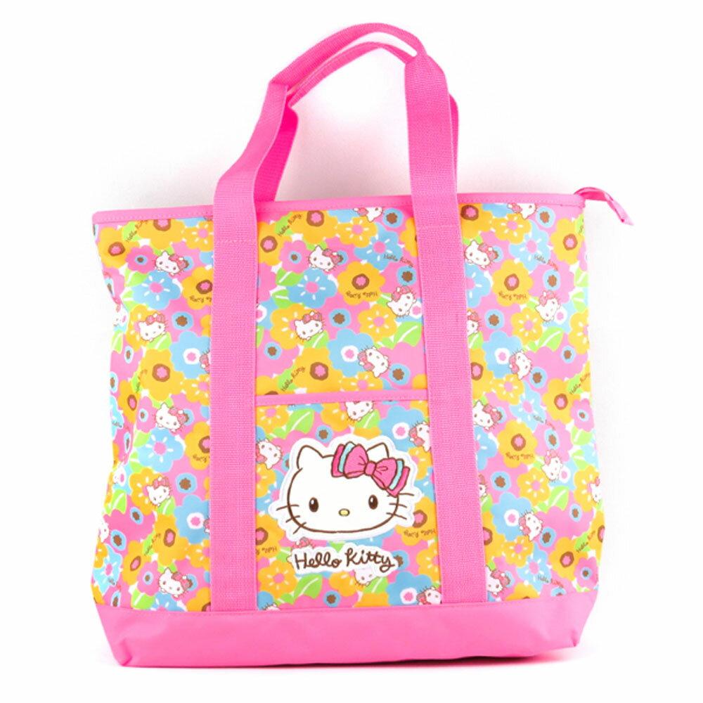 Hello Kitty繽紛花漾粉色野餐手提側背袋/購物袋/側背包/野餐包