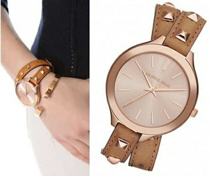【Cadiz】美國真品正品 Michael Kors 鉚釘雙環皮革錶 [MK2299/ Brown Leather Quartz Watch / 代購/ 現貨]