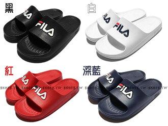 Shoestw【4S355Q-】FILA 拖鞋 LOGO 運動 防水拖鞋 黑色 白色 紅色 深藍色