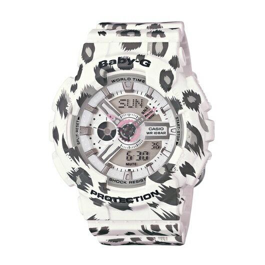 CASIO BABY-G BA-110LP-7A白豹紋雙顯流行腕錶/白面43.4mm
