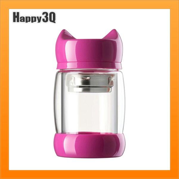 雙層玻璃杯雙層杯子貓頭蓋杯304不銹鋼茶隔泡茶辦公室杯子水杯-多色【AAA4214】