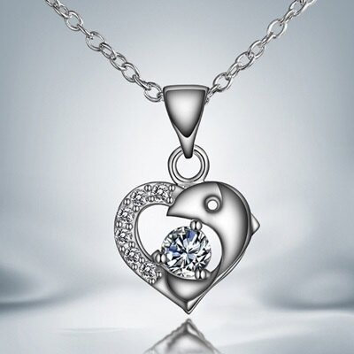~925純銀項鍊 鑲鑽吊墜~美麗海豚愛心唯美情人母親節 女 73ax30~ ~~米蘭 ~