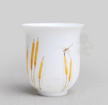 釉中手繪大茶杯 小雅 功夫茶杯 陶瓷茶杯 【春泥陶藝】(香蒲)(圖二)