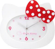 【真愛日本】14071100027 經典頭型掛鐘-紅結白點 三麗鷗 Hello Kitty 凱蒂貓 時鐘 壁鐘