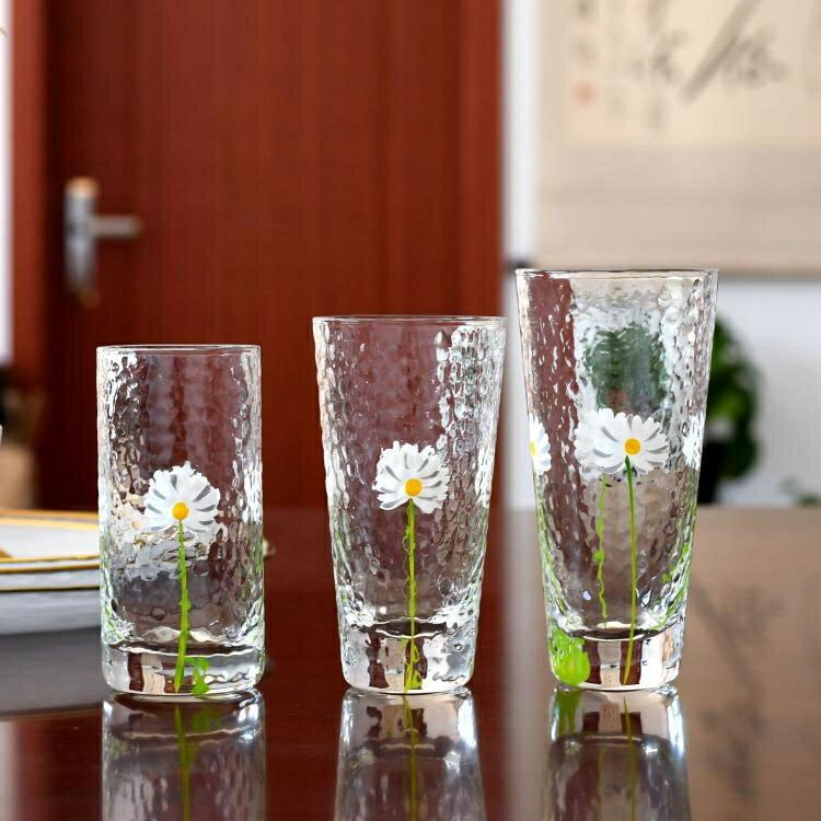 【快速出貨】日式手繪小雛菊錘紋杯菊花果汁杯小清新耐熱玻璃杯晾水壺 七色堇 新年春節送禮