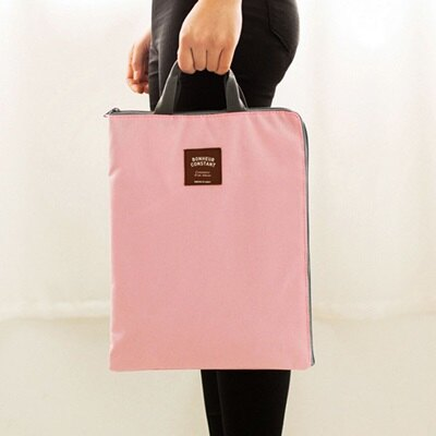 ★手提包A4文件袋-純色簡約可放IPad帆布手提袋4色73pp418【獨家進口】【米蘭精品】