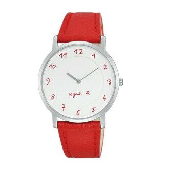 agnes b 7N00-0BC0R(BG4005P1)法式簡約時尚腕錶/白面紅34mm
