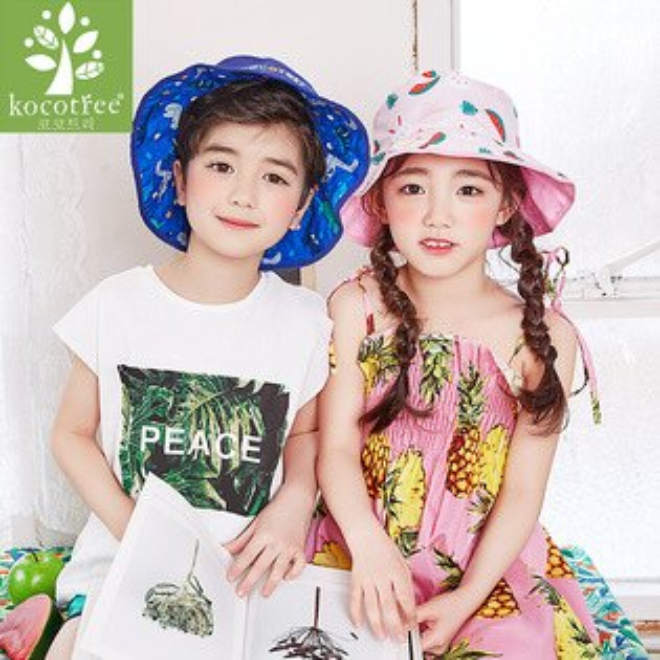 Kocotree◆夏日海洋水果滿版雙面沙灘盆帽漁夫帽