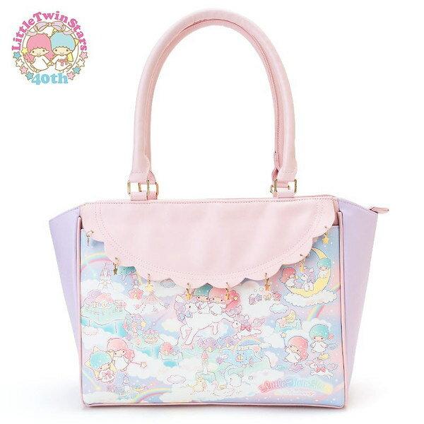 【真愛日本】15091600008手提包-荷葉邊星星鉚釘 三麗鷗家族 Kikilala 雙子星 手提包 手拿包 包包