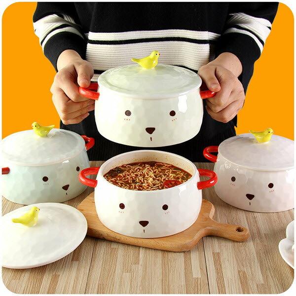 可愛北極熊雙耳附蓋陶瓷泡麵碗 900ml (陶瓷碗 大碗 創意餐具 學生飯碗 湯碗 泡麵碗) 不可瓦斯爐直接烹飪