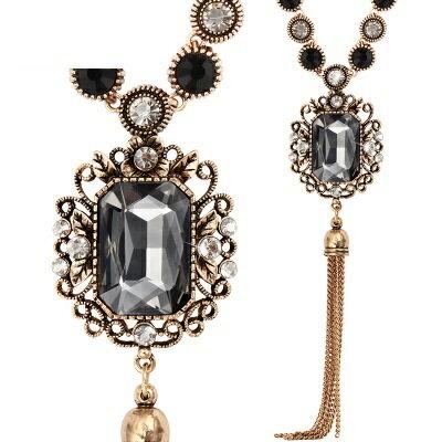 鑲鑽項鍊 毛衣鍊 ~奢華高貴精緻華麗女飾品2色73fv120~ ~~米蘭 ~