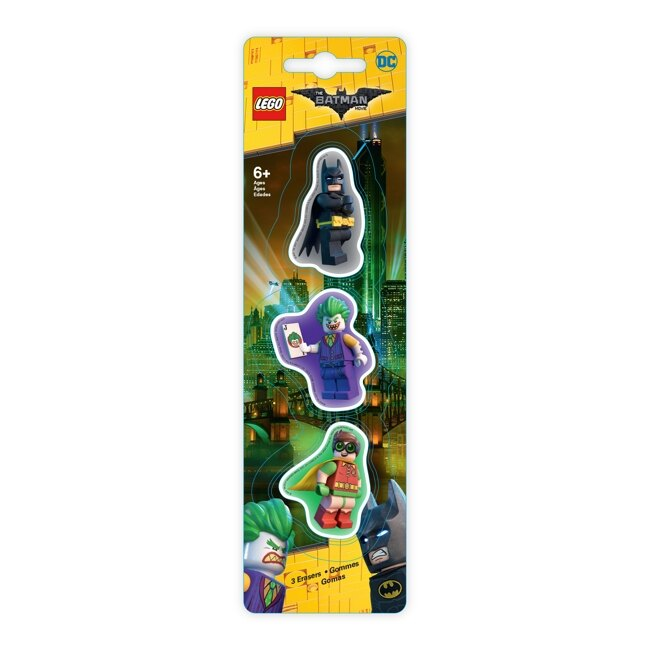【 樂高積木 LEGO 】造型橡皮擦(3入)(蝙蝠俠/羅賓/小丑)