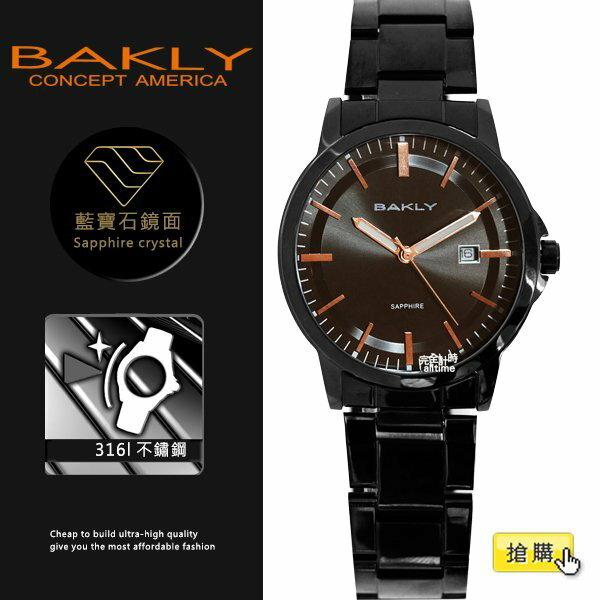 【完全計時】手錶館│BAKLY 美國意念 黑鋼 BA3039-2 32mm s 藍寶石水晶玻璃 小b 日期