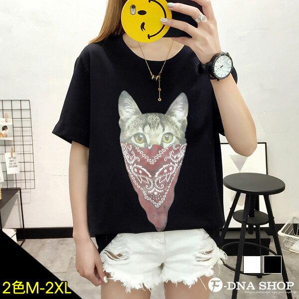 F-DNA★領巾貓咪印圖圓領短袖上衣T恤(2色-M-2XL)【ET12739】