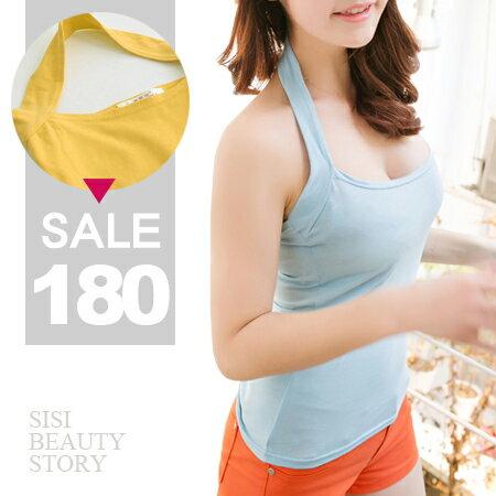 SISI【V6002】簡約美型掛脖低胸集中修副乳吊帶純棉背心上衣露背緊身T小可愛