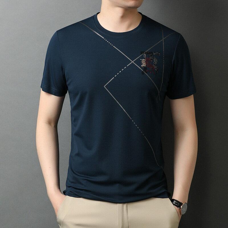 男裝短袖T恤印花上衣潮 夏季新款套頭男半袖休閒打底衫