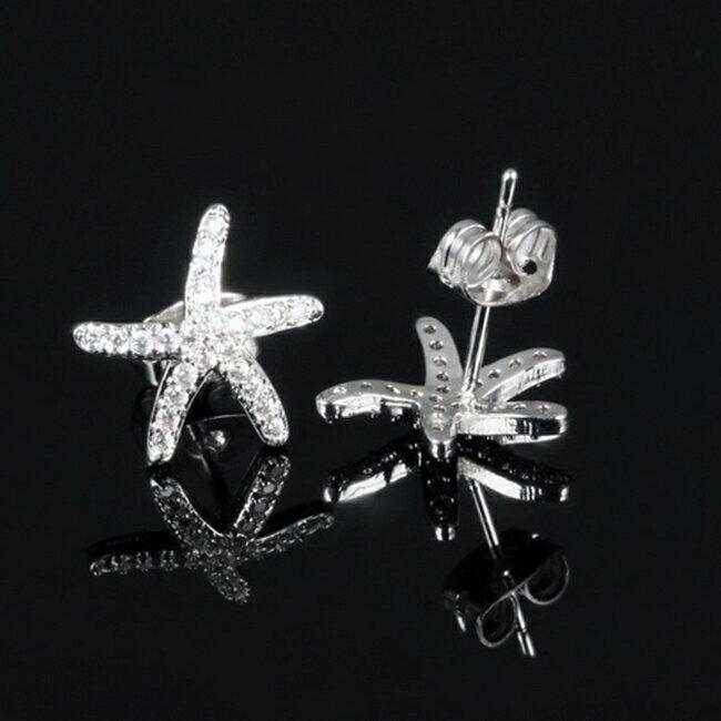 防抗過敏 海星星 天然白水晶 耳環耳釘針-銀