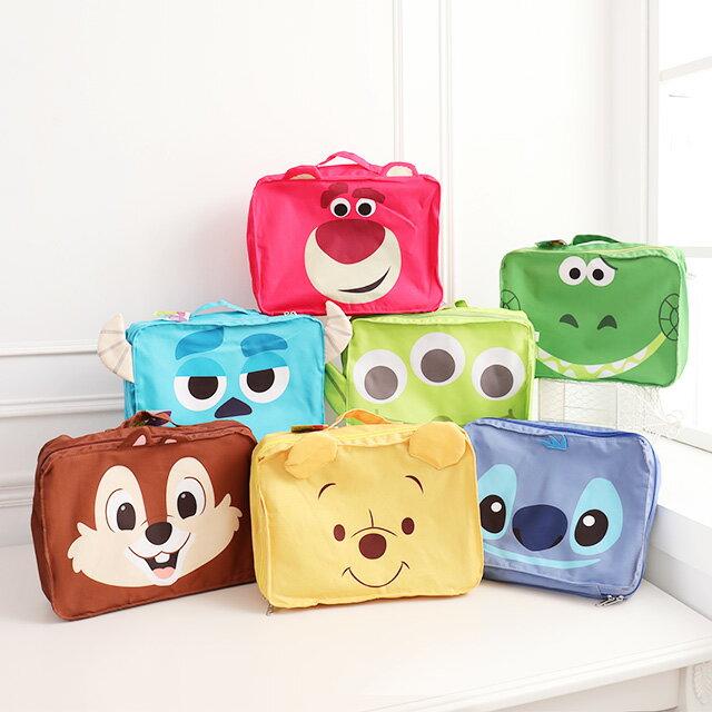 旅行行李收納包L號 大臉系列 - Norns 迪士尼 衣物收納袋 分類整理包 出國旅行袋 行李箱 大臉造型 維尼小豬 史迪奇三眼怪 1