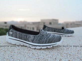 Shoestw【13979BKW】SKECHERS健走鞋 輕便鞋 GO WALK2 灰黑 編織 瑜珈鞋墊 女款 真好穿