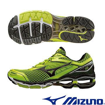 J1GC160110(螢光綠X黑)全新旗艦款 WAVE CREATION 18 男慢跑鞋 A【美津濃MIZUNO】