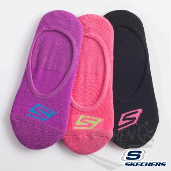 SKECHERS 女 運動隱形襪 (紫桃黑3雙入) 純棉透氣 足跟防滑 運動襪子 22-26CM