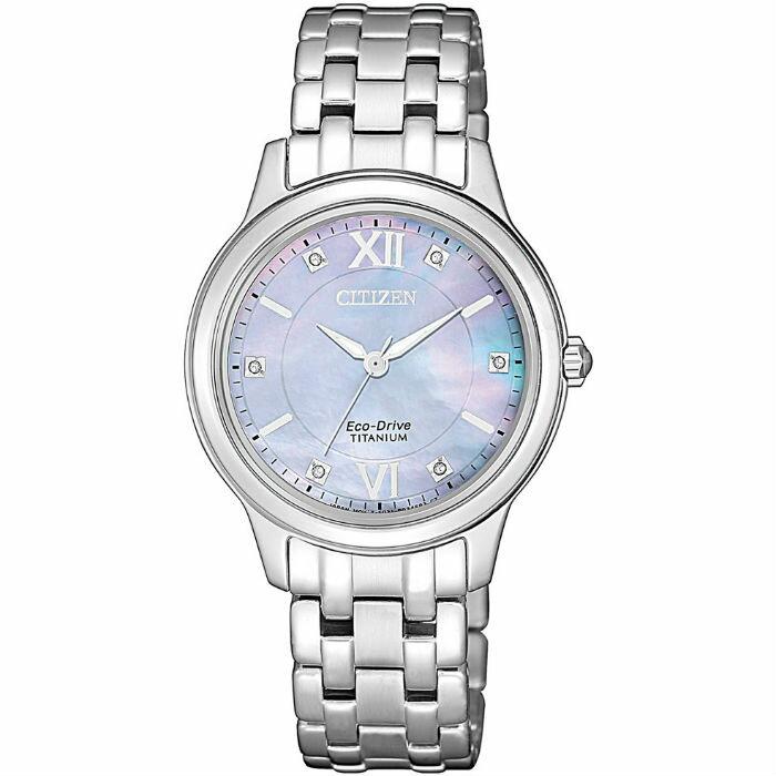 CITIZEN星辰 EM0720-85Y 時尚鈦金屬光功能炫麗腕錶 / 藍紫面 30mm