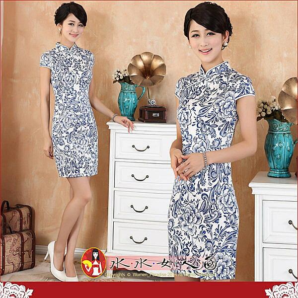【水水女人國】~*平價旗袍風*~富貴青花。復古棉印花時尚改良式包袖短旗袍