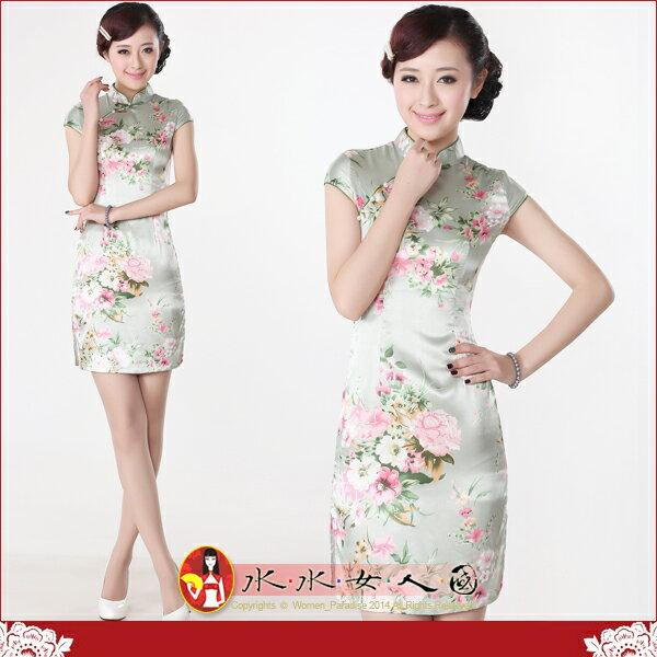 【水水女人國】~特價399元~綠意盎然。彈力絲包袖改良式時尚短旗袍